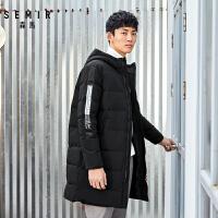 森马长款羽绒服男2018冬季韩版连帽外套潮流织带青少年上衣新款