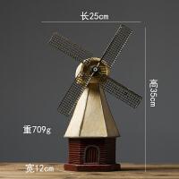 北欧店铺美式装饰品创意复古摆设酒柜荷兰风车模型摆件小家居客厅