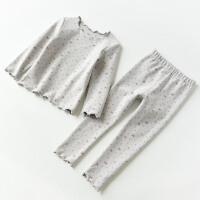 冬季儿童内衣套装 女童木耳边印花两件装 秋冬装秋冬新款