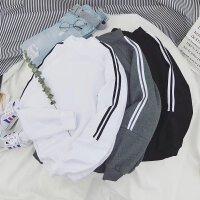男士卫衣圆领韩版春季2018新款条纹T恤套头修身潮流男装运动外套