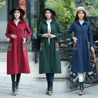 民族风女装 春装新款 加绒复古棉麻大码修身大衣中长款外套女