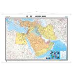世界区域挂图-中东(两全开 筒装)