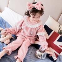 女童珊瑚绒睡衣秋冬季儿童法兰绒女大童小女孩家居服加厚宝宝公主