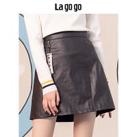 Lagogo 2018秋冬新款黑色高腰A字PU皮半身裙女短款裙子HCBB139A42