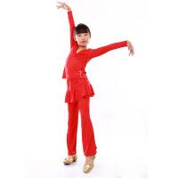 儿童拉丁舞长袖套装少儿舞蹈服练功服长袖裙裤女童秋冬新款