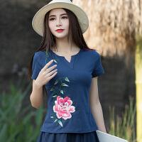 中国风女装上衣民族风夏装短袖t恤女绣花打底衫纯棉显瘦弹力半袖