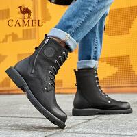 骆驼2019秋季新款真皮马丁靴男高帮潮百搭韩版时尚潮靴板鞋休闲鞋