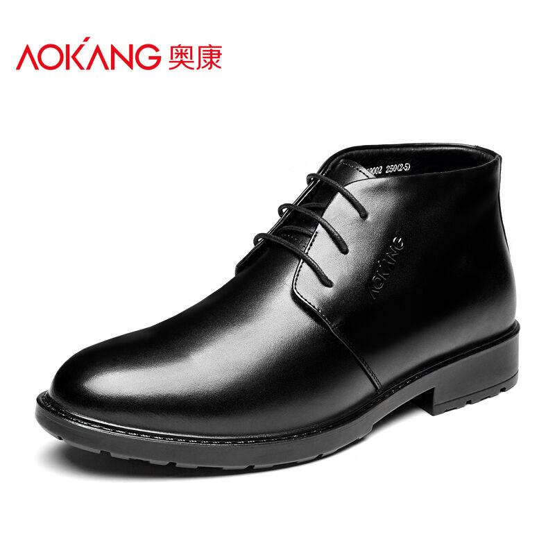 奥康男鞋 棉鞋男靴商务休闲正装皮鞋保暖高帮鞋加绒