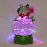 水晶球青蛙 LED发光飘雪摆件 定制*女友 457 13.5*13.5*26