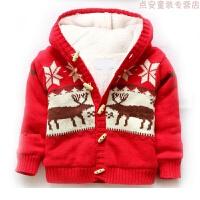 婴儿加绒毛衣冬装新款圣诞节衣服儿童宝宝毛线针织衫外套儿童保暖
