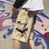 夏装新品个性潮流男士工装大口袋中裤韩版休闲宽松短裤沙滩五分裤