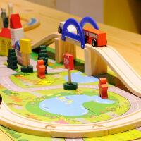 木制立交桥城市交通轨道积木儿童轨道车托马斯小火车玩具