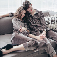 情侣睡衣套装天鹅金丝绒睡衣男女士家居服开衫翻领秋季长袖欧美潮