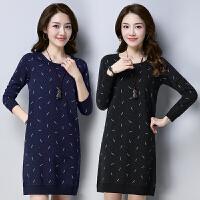针织连衣裙2018春装新款民族风女装长袖圆领显瘦套头中国风裙子