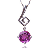 梦克拉 紫水晶吊坠女 音色 S925银镶紫晶项链锁骨链 项链吊坠