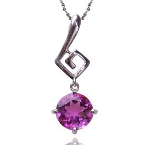 梦克拉 紫水晶吊坠女 音色 S925银镶紫晶项链锁骨链 项链吊坠  可礼品卡购买
