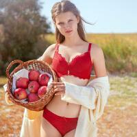 润微红色内衣套装本命年女鼠年无钢圈蕾丝小胸聚拢结婚新娘文胸罩