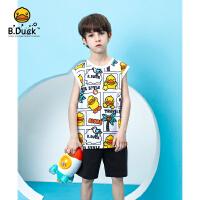 【3折价:107.7】B.duck小黄鸭童装男童套装2020夏季纯棉休闲短裤儿童针织半袖 BF2181905