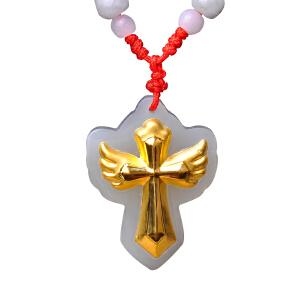 梦克拉 和田玉白玉十字架金镶玉吊坠  守护十字架  3D硬金十字架吊坠翅膀创意造型男女款 可礼品卡购买