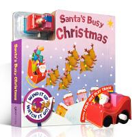 英文原版绘本Santa's Busy Christmas 忙碌的圣诞老人Busy Day Board系列轨道类玩具纸板