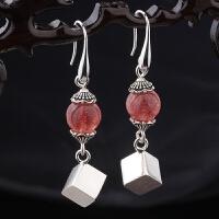 泰国手工银耳环s925纯银饰品天然紫水晶草莓晶魔方女款时尚耳坠