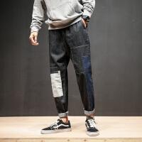 风贴布哈伦牛仔裤青年学生宽松潮流松紧腰长裤男装