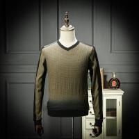 2018新款男士V领薄款春装毛衣渐变色时尚青年针织衫修身