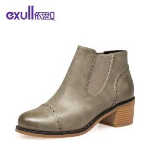 依思q圆头粗跟中跟套脚短靴简约时尚女靴子