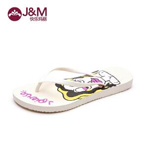jm快乐玛丽 夏季时尚女士拖鞋 防滑平底人字拖 凉拖T1005W