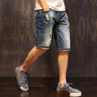 破洞牛仔短裤男士夏季韩版潮流弹力五分裤宽松大码5分中裤潮薄款 蓝色