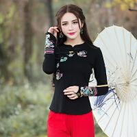 中国风女装春装新款民族风复古刺绣改良旗袍上衣修身长袖T恤