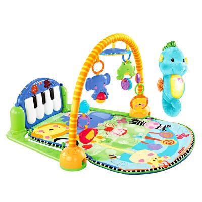 婴儿健身架新生优选婴儿安抚玩具礼盒琴琴婴儿健身器+声光安抚小海马 双明星组合
