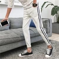 青年九分牛仔裤男士夏季薄款修身小脚九分裤哈伦裤子