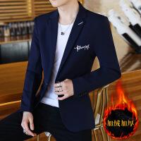 西装男士休闲韩版修身单上衣青年帅气加绒小西装学生西服外套潮流 加绒