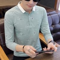春秋薄款衬衫领打底衫有带领POLO衫秋季韩版潮流男士长袖T恤