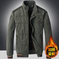 中年男士外套冬季加绒加厚夹克男纯棉衣服中老年爸爸冬装外套