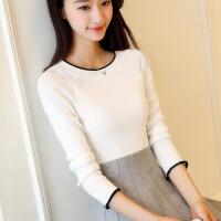 安妮纯秋装新款毛衣修身打底衫女装2018韩版低圆领长袖针织衫短款套头