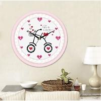 精准印花十字绣追着幸福跑钟表挂钟客厅小幅画简单线绣时钟