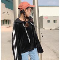 原宿风金丝绒上衣男女同款嘻哈爵士舞hiphop街舞运动练功服学生潮