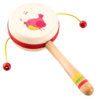 木质拔浪鼓0-3岁宝宝木制拨浪鼓响鼓婴儿玩具摇铃玩具初生儿童幼儿手摇鼓小鼓