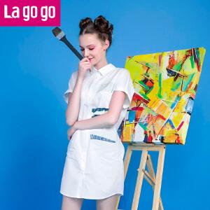 Lagogo拉谷谷夏季新款白色印花短袖衬衫女韩版宽松睡衣风中长款