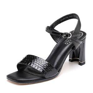BASTO/百思图2018夏季专柜同款蛇皮革/羊皮革一字带粗跟通勤女凉鞋MB712BL8