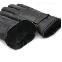 羊皮毛一体手套男士保暖加厚羊毛真皮手套 冬天摩托车骑车手套