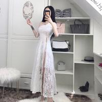 欧美风2018夏性感开叉蕾丝连衣裙中袖修身显瘦气质夜店长裙礼服