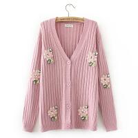 春韩版时尚甜美刺绣钉珠绣花针织衫女加大码开衫竖纹毛衣外套