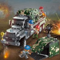 启蒙�犯呋�木战地系列男孩拼装军事5坦克潜艇6儿童益智7玩具8岁10