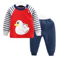 婴儿秋冬保暖衣服男女宝宝贴布小鸭子夹丝两件套装