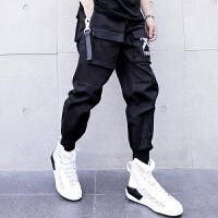 新款个性嘻哈风街头潮流宽松哈伦裤男长裤日系青少年休闲工装束脚