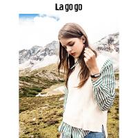 【清仓3折价149.7】Lagogo/拉谷谷2019新款学院风撞色针织衫两件套女HCMM939C29
