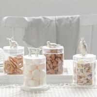 玻璃罐特色收纳储物茶叶家用咖啡茶叶罐化妆饰品收纳